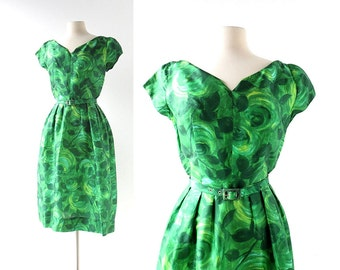 50s Vintage Dress | La Rose Verte | Green Silk Dress | 1950s Dress | XS