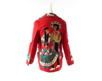 Mexican Souvenir Jacket | 1940s Jacket | Tourist Jacket | XXS