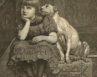 """Antique print """"Sympathy"""" from HARPER'S YOUNG PEOPLE illustrations from 1882.             Free shipping."""