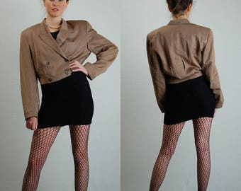 Cropped Blazer Vintage Mocha Brown Crop Double Button Menswear Minimalist Jacket (s)