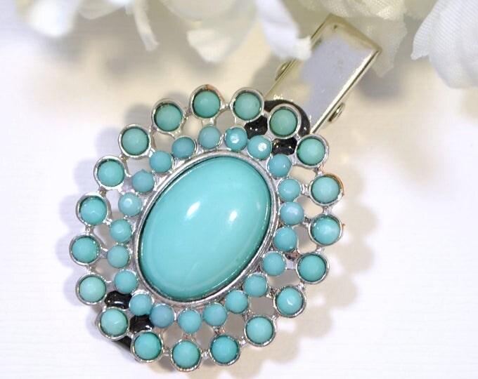Blue Hair Clip Blue Silver Barrette Blue Sun Hair Accessory Hair Clip Southwest Jewelry