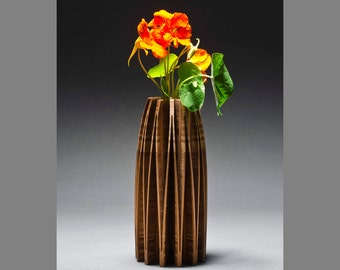 Orchid contemporary wood vase