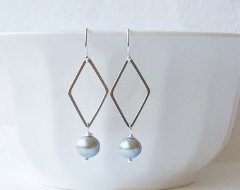 Gray Freshwater Pearl Dangle Earrings
