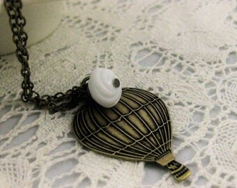 HOT AIR BALLOON Necklace Cloud Balloons Necklace Vintage Brass Air Balloon Jewelry Whimisical Jewelry Victorian Travel Balloon Handmade