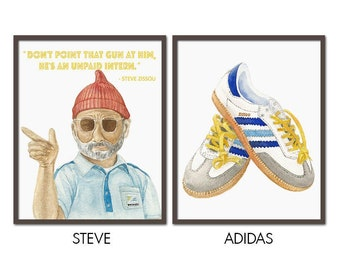 Steve Zissou PRINTABLE FILE wes anderson, bill murray, the life aquatic, adidas, team zissou, movie poster, office decor, office wall art