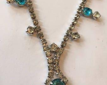 Sweet Aqua and White Rhinestone Choker Necklace