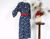 RESERVED ON LAYAWAY Vintage 1930s Dress - Ultra Soft Navy Blue and Floral Print Silk Day Dress with Full Sleeves and Ruffled Accent