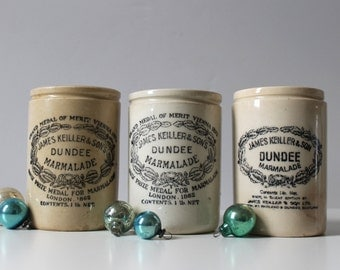 Trio of Dundee Marmalade Crocks, James Keiller & Son, Advertising Jam Jars, Rustic Modern Kitchen, Ironstone Jam Pots, Instant Collection