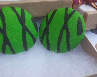 Green and black fabric button earrings, Gifts for her, Gifts for women
