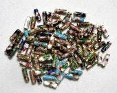 10x3mm Cloisonne Tube Beads Enamel Metal (98) Multi Mix