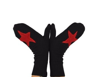Rockstar Mittens in Black with Red Stars - Recycled Merino Wool