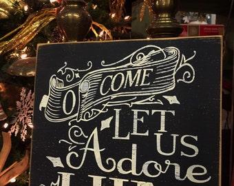O come let us adore Him, Christmas decor, Christian hymn sign, holiday wall art, mantel decor, vintage Christmas, Christmas song