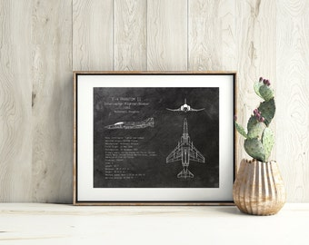 F-4 Phantom II airplane blueprint, f-4 phantom blueprints, military plane art, aviation decor, airplane nursery art, husband christmas gift