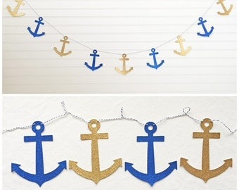 Glitter Anchor Garland - 5 inch Anchors - Nautical Decor Anchor Bridal Shower Banner Glitter Nautical Bachelorette Party Nautical Wedding