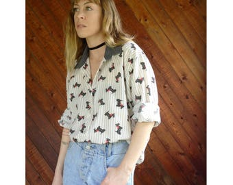 Scottie Dog Print Chambray Trim Blouse - Vintage 70s 80s - L