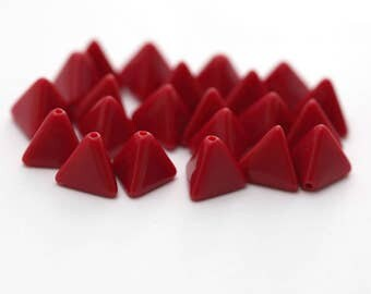 Vintage Opaque Red Lucite Triangle Beads 11mm (20)