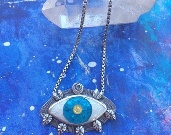 Cloisonne enamel evil eye pendant, green enamel evil eye necklace, enamel evil eye necklace.