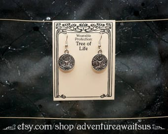 Tree of Life Earrings - metal silver round stainless steel wearable protection forest world yggdrasil pagan wicca spiritual sacred