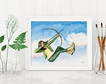 Strong Girl Poster, Archery Girl Picture, Aim High Poster, Brave Girl Poster, Grit Motivational Wall Hanging, Feminist Art, Brave Woman Art