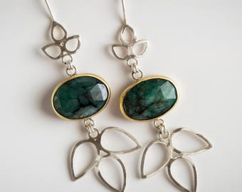 Iris Chandelier Earrings w/ Raw Emerald in 18k Gold & Silver