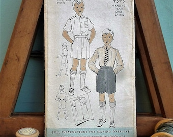 "Vintage Sewing Pattern 1940s 1950s Boy's Shirt and Shorts Age 9 10 Years 27"" chest Weldons No. 9393 UK 40s 50s schoolboy wear"