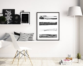 """Minimal Black and White Painting """"Horizons"""" by Jules Tillman Fine Art Lustre Print modern minimalist mixed media watercolor painting stripes"""