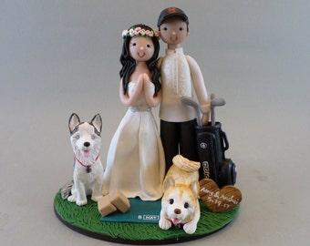 Golfer & Yoga Teacher with 2 Dogs Customized Wedding Cake Topper