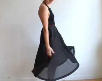 Vintage 50's Sheer Full Skirt/ Black Sheer Seersucker Circle Skirt/ Size 27