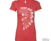 Womens Native American HEADDRESS -hand screen printed T Shirt s m l xl xxl (+ Colors Available)