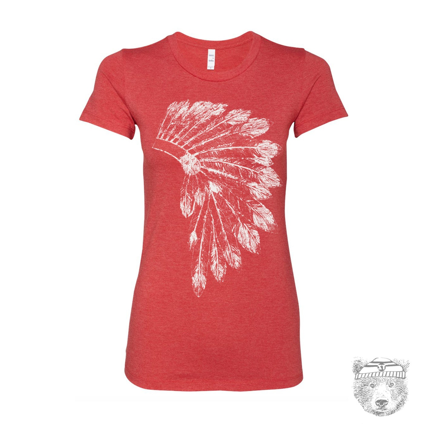 Womens Headdress T Shirt Native American Feathers Design Hand