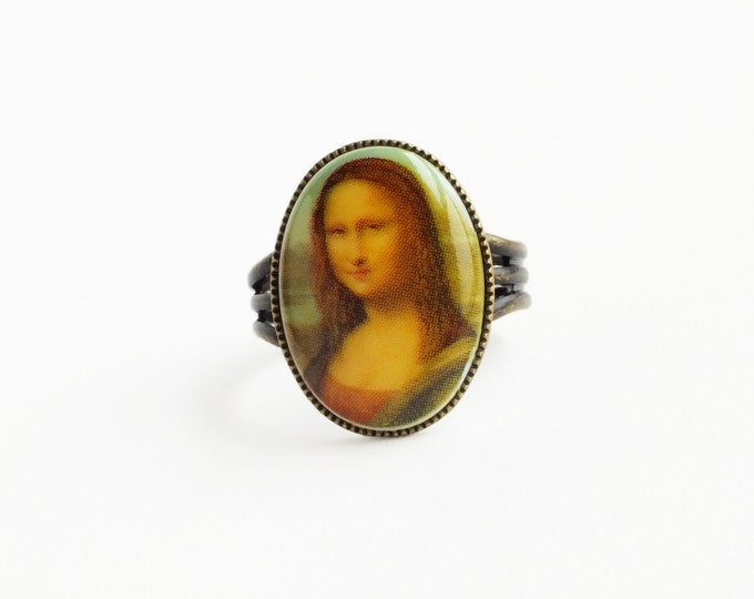 Mona Lisa Ring Vintage Fine Art History Jewelry Oil Painting Cameo Ring Brown Jewelry Antique Brass The Mona Lisa Jewelry