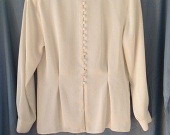 Vintage 1980s cream colored blouse, size 10