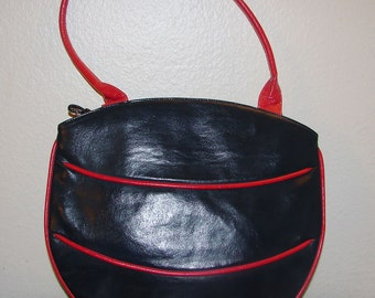 Mod Navy Blue and Red Faux Leather Shoulder Bag