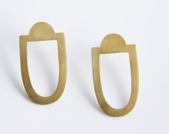Statement Earrings in Brass, Art Deco Earrings, Geometric Earrings, Minimalist Earrings, Boho Summer Earrings, Large Drop Earrings