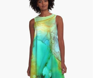 Colorful Casual Dress Cocktail Party ALine Dress Loose Wearable Art Clothing Office Attire Summer Girls Night Plus Size Aqua Blue Green