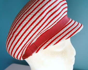 1960s Vintage Hat Mod Hat Red & White Straw Hat 60s Twiggy Cap with Brim Visor Funky Mr. Morton G. Hat Hipster Fashion Hat 21 inch Brim