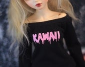 For BJD, Custom Pastel Goth Minifee Shirt, You Pick Words and Decal Color, MSD Doll Clothes, Drippy Font