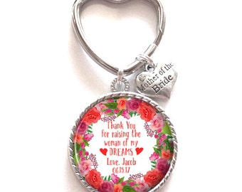 Mother of the Bride Gift Personalized Keychain Keepsake Memento Style 700