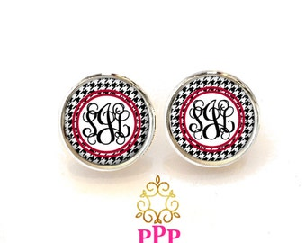 Houndstooth Personalized Monogram Earrings Monogram Jewelry (530)