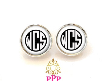 White Monogram Earrings, Monogram Accessories, Monogram Jewelry, Gift for her Style 393