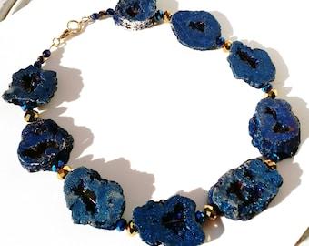 Blue druzy agate semi precious, high quality glass necklace
