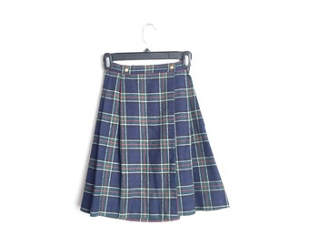 SALE // Size Youth 10 or Women's XXS // PLAID Skirt // Navy Blue - A-Line - Pleated - School Uniform - Vintage '80s.