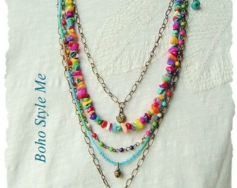 Boho Style Necklace, Colorful Layered Beaded Jewelry, Modern Hippie, Urban Gypsy, Boho Chic, Boho Style Me, Kaye Kraus