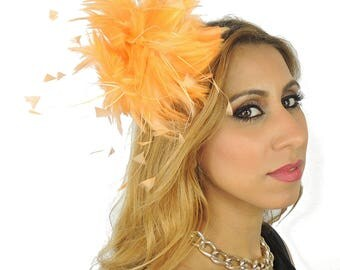 Orange Fascinator Ascot Kentucky Derby Proms **SAMPLE SALE**