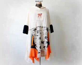 Plus Size Dress Off White Hooded Tunic Dress Eco Friendly Boho Chic Clothes Woodland Pixie Women's Deer Shirt Patchwork Dress 2X 'VIVIAN'