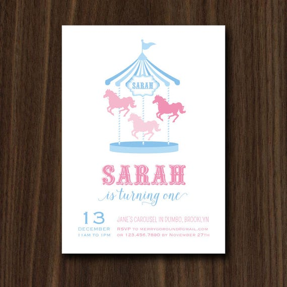 Digital file carousel invitation carousel invite merry go round il570xn stopboris Image collections