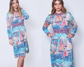 Vintage 60s Designer GOLDWORM Dress SAILBOAT Print Dress RARE 60s Vintage Dress Graphic Print Dress