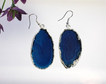 Blue Agate Slice Earrings, Agate Earrings, Silver Agate Earrings, Boho Jewelry, Raw Agate, Stone Earrings, Blue Crystal Agate, ASE58