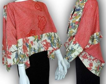 KAWAII! Japanese Kimono Recycled- 2-Way Origami Blouse Shrug - Two-Tone /Tie-dye Kimono