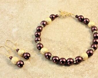 Burgundy Gold Glass Pearl Druk Wedding Bracelet and Earrings Bridesmaid Bridal